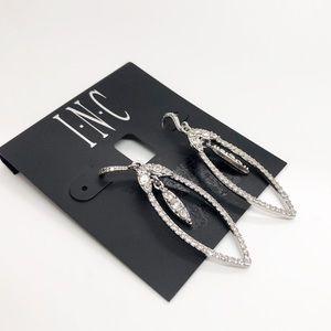 INC Silver Clear Crystal Open Teardrop Earrings